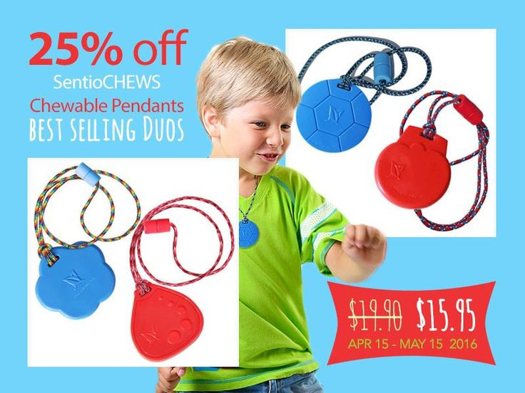 SentioCHEWS - chewable pendants- SWEET Spring SALE: 25% OFF 2 Popular Duos! Popular #autism products!  Two Durable #SensoryChews ONLY:  $15.95 Canadian (Regular price for two is $19.90) $11.95 US Buy here: http://kidcompanions.com/product-category/sale-2/ NOTE: USA prices may vary a bit with the value of Canadian dollar on the day you place your order. #NeedToCHEW #Autism #therapist