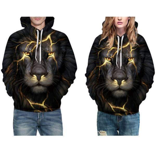 Fashion Personality Lion Hooded Sweater Unisex Casual Digital Printing Baseball Uniform Sport Hoodie at Banggood