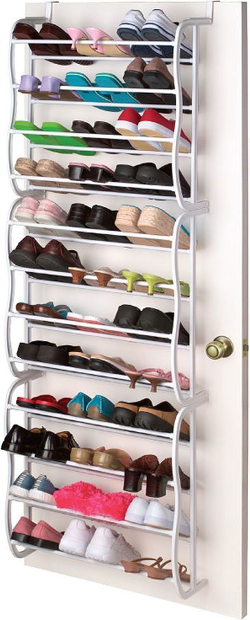 This is perfect if you have minimal space and tons of shoes! Sunbeam Over-the-Door 36-Pair Shoe Rack