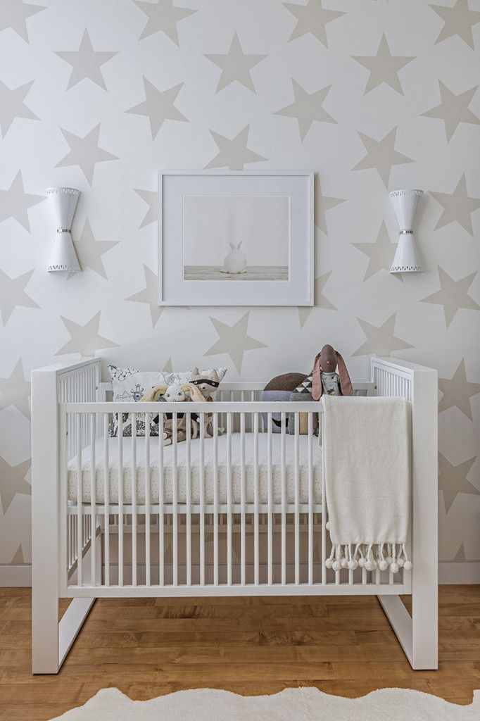 Project Nursery - Neutral Nursery with Jill Malek Lucky Star Wallpaper