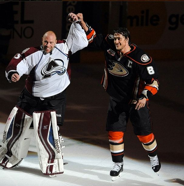 Teemu Selanne and JS Giguere in Anaheim, final game of the season before retirement.  4.13.14