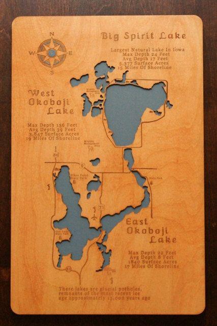 Wooden laser engraved lake map wall hanging of Iowa's Great Lakes...Big Spirit, West Okoboji and East Okoboji Lake