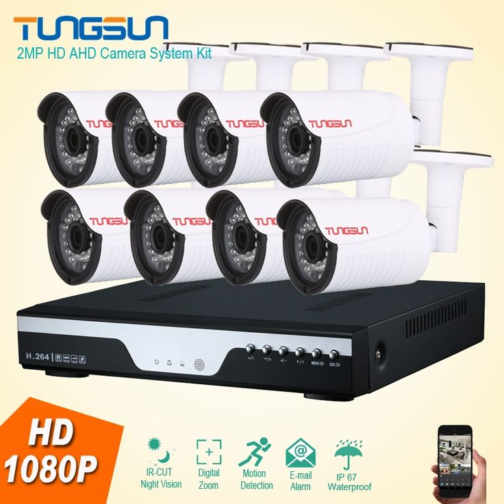 (397.72$)  Buy here  - New 2MP HD 8 Channel 1080P Surveillance Camera kit Home Metal Bullet Waterproof Outdoor Security Camera 8CH DVR CCTV System Kit