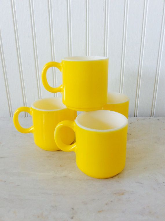 Vintage Set of Four, Fire King, Milk Glass, Yellow Mugs, Coffee Cups, Kitchen Decor, Cottage, Coastal, Mid Century, Kitchy