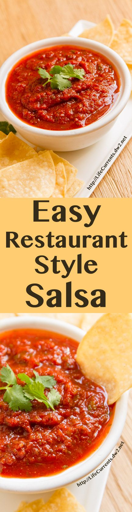 Easy Restaurant Style Salsa is made with canned crushed tomatoes so it's super easy to whip together