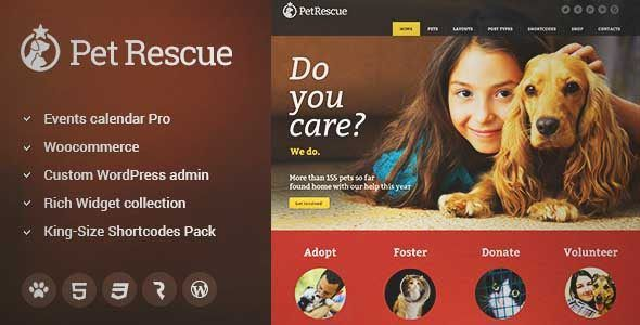 Download and review of Pet Rescue - Animals and Shelter Charity WP Theme, one of the best Themeforest Non-profit themes