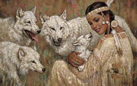 Kindred Spirits   American Indian   Wolves   Lady - abstract, fantasy