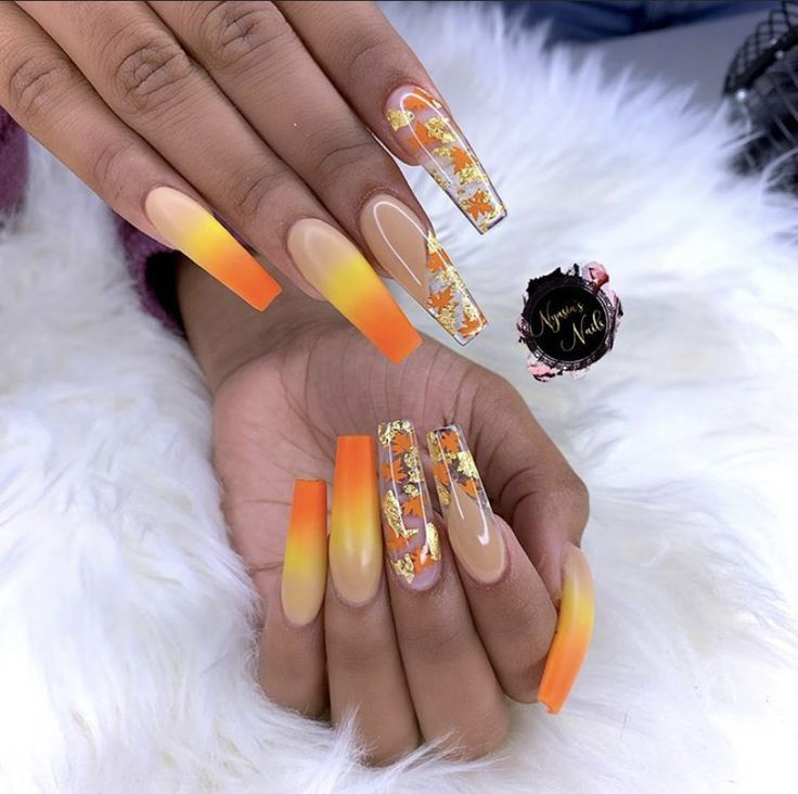 Candy Corn Acrylic Nails Coffin In 2020 Candy Corn Nails Fall Acrylic Nails Cute Acrylic Nail Designs