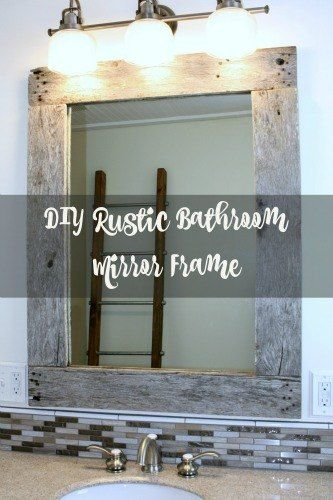 diy rustic mirror frame, bathroom ideas, diy, pallet, rustic furniture, wall decor, woodworking projects