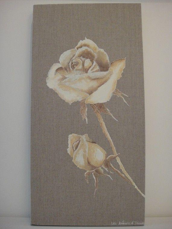 tableau de rose aux couleurs tendances et chaudes sur toile de lin toile d coration et roses. Black Bedroom Furniture Sets. Home Design Ideas