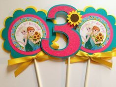 3 Frozen Fever Birthday Party Centerpiece by sweetheartpartyshop