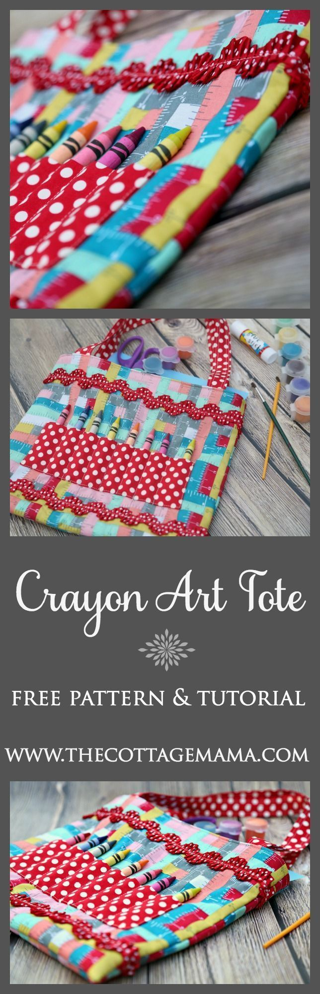 Free Crayon Art Tote Sewing Pattern and Tutorial from The Cottage Mama.  www.thecottagemama
