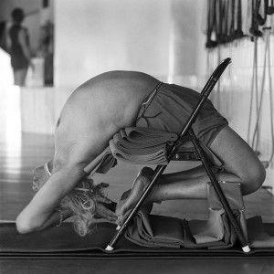 B.K.S. Iyengar practices in the premises of the Ramamani Iyengar Memorial Yoga Institute in Pune.