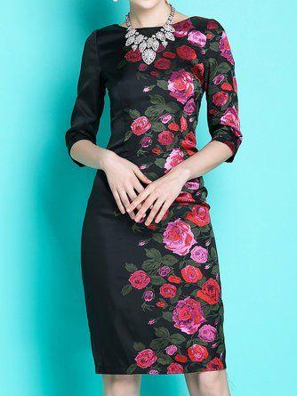 0e25b5d903d5 Stylewe Formal Dresses Sundress Cocktail Sheath Crew Neck Floral-Print  Elegant Sleeveless Dresses