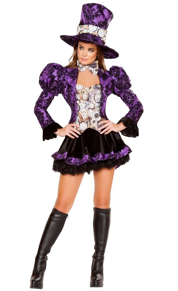 From Roma 2016 costume collection 4 Piece Tea Party Vixen includes Satin Jacket with Tails & Attached Top with Zip up Closure, Bow Tie, Skirt & Top Hat. Featuring purple embossed jacket with long tails, long sleeves, black ruffled cuffs, puffed shoulders, clock patterned corset top with a front zipper closure, matching bow tie, black skirt with a purple ruffled hem and matching top hat. #newcostume #2016costume #romacostume #teapartycostume #lingerielux