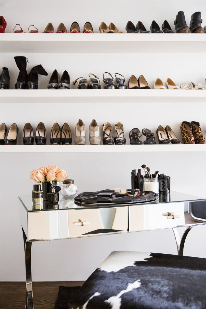 Hazan†displays 80 pairs of her designer shoes on open shelves. (She hides her sneakers in a closet.)