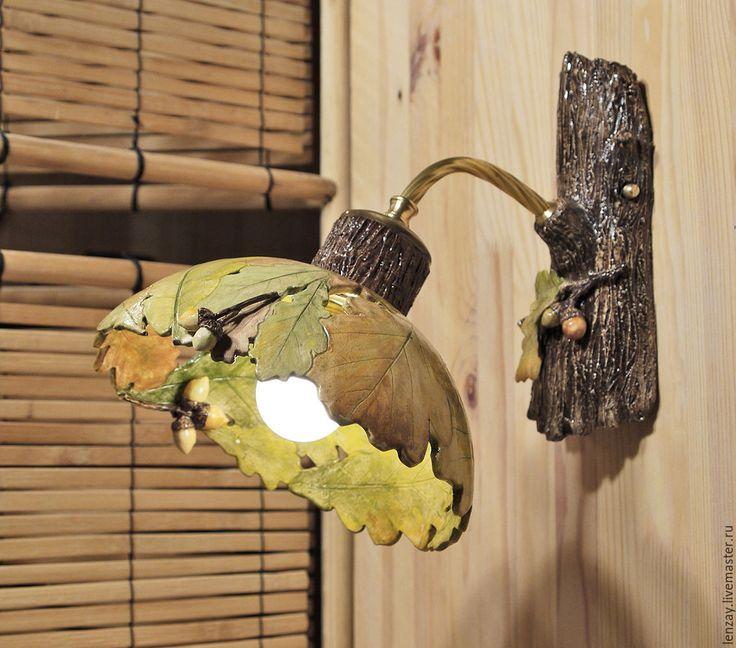 Купить Дубовые листья и желуди - бра для веранды - коричневый, керамический плафон, керамические люстры