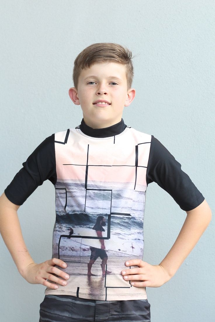 Kids swimwear Rash Vest for boys in short sleeve with sublimated with surfer design. by LaLaLaDesigns on Etsy