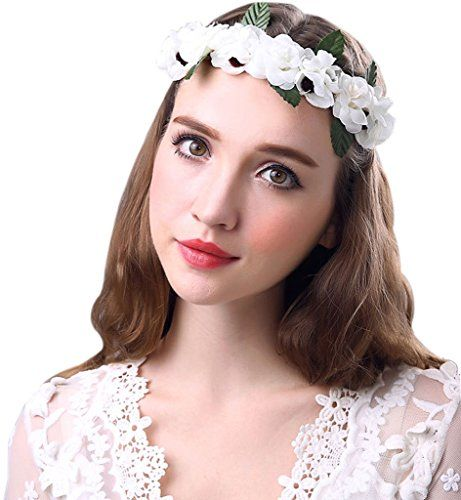 Sumolux White Gardenia Flower Crown for Wedding Festivals *** Continue to the product at the image link.