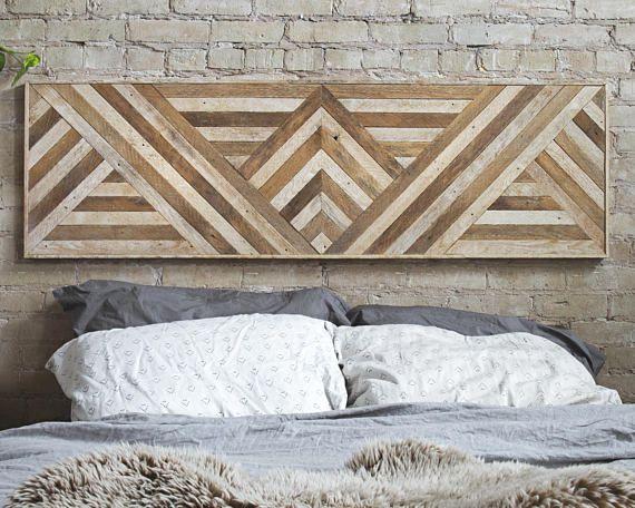 Arte de pared de madera reciclada cabecero decoración de la