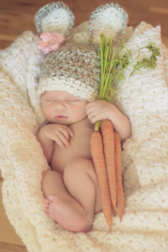 Baby Bunny Hat with removeable flower clip by HatAndColdCrochet