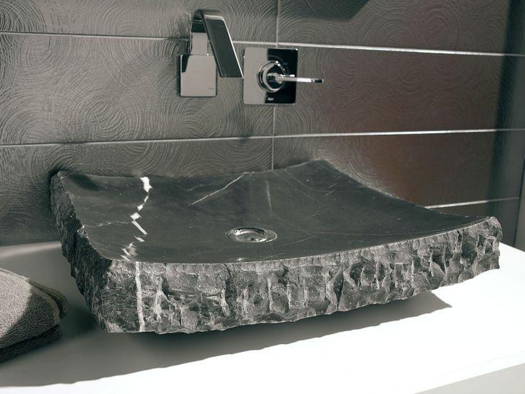 Lavabo Zazen: Lavabo de piedra cuadrado y ovalado de color negro con betas blancas