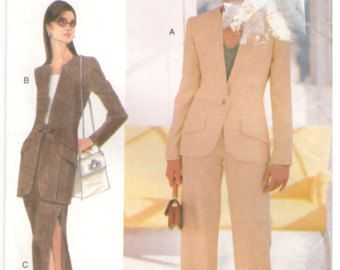 Vogue 9799 Size 14, 16, 18 Women's pattern: lined princess seam jacket, short pencil skirt or straight leg pants suit. Mother of the bride