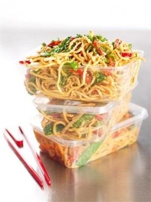 sesame peanut noodle salad...double the sauce and use wheat thin spaghetti (rinse noodles with cool water)...finish with chopped cilantro...