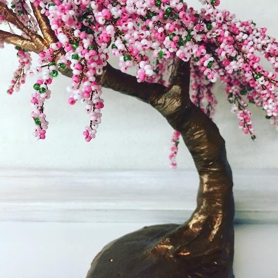 Cherry Blossom Pink Beaded Bonsai Tree Gardening Gift Sakura Tree Sculpture Wire Wrapped Tree Handmade Gifts Office Decor Japanese Sakura Bonsai Tree Sakura Tree Garden Gifts