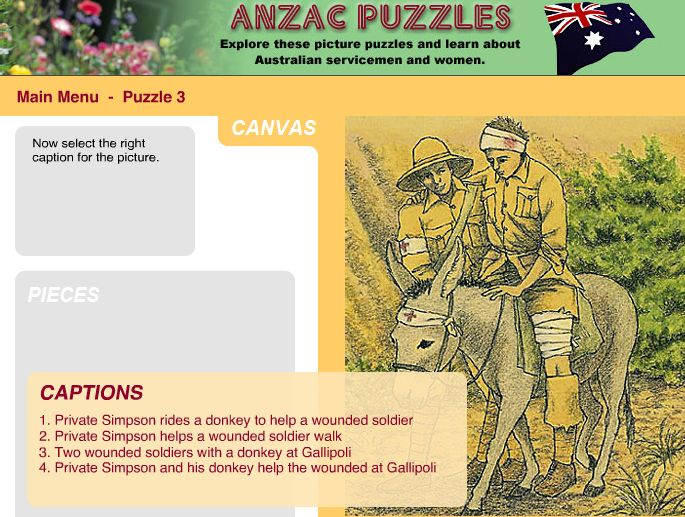 Early Childhood. Simple drag and drop puzzles with different images related to Anzac Day and basic information.