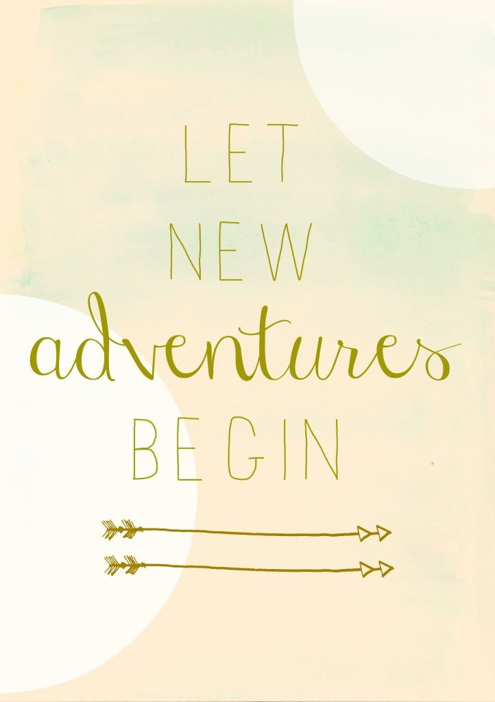 Let new adventures begin- free pink watercolor printable