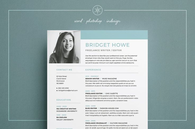 Resume/CV | Bridget - Our design, 'Bridget', contains a professional compact design with matching cover letter for those looking for a high impact presentation. Everything is editable including fonts and colors so be sure to personalize to suit your needs. Move and duplicate elements and make the design your own!