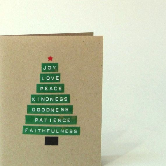 Merry Christmas Card - Joy Love Peace Tree - Blank Recycled Holiday Greeting Card