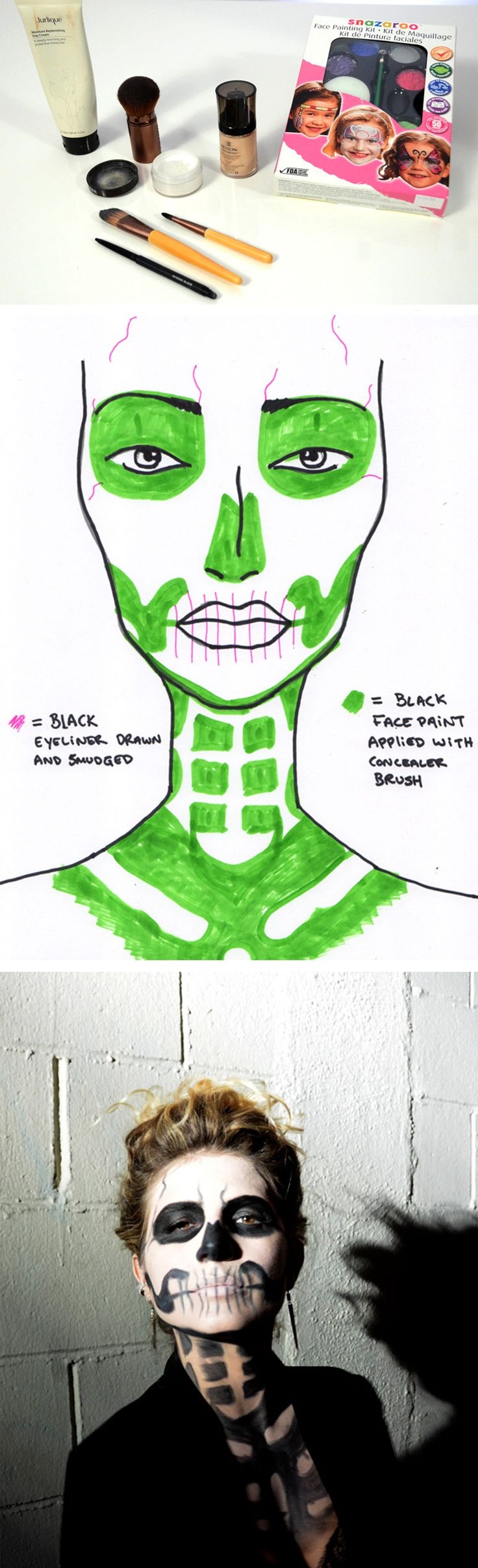 Print this skeleton makeup diagram to get an easy, scary-chic look for Halloween parties or last minute DIY costumes!
