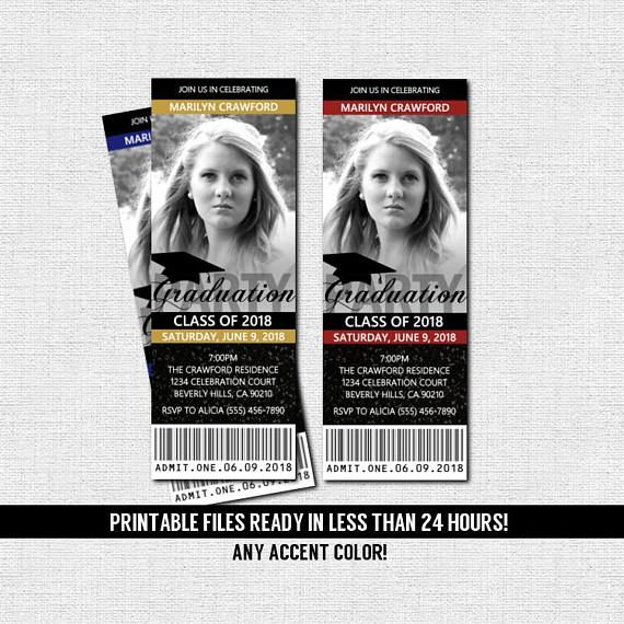 GRADUATION PARTY TICKET INVITATIONS or ANNOUNCEMENTS - Printable Files This invitation is perfect for a grad party and will surely impress all of your party guests! Modern, sophisticated and classy! *Text will be personalized for your event! (Sorry, NO font changes!) You will also be