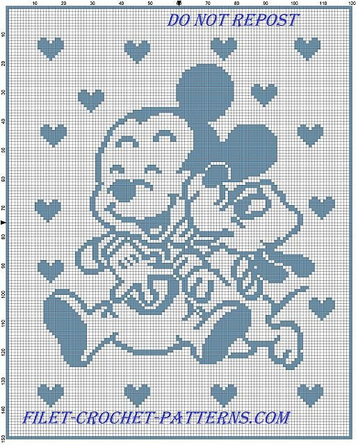 Baby Mickey and Pluto happy baby blanket filet crochet - free filet crochet patterns download