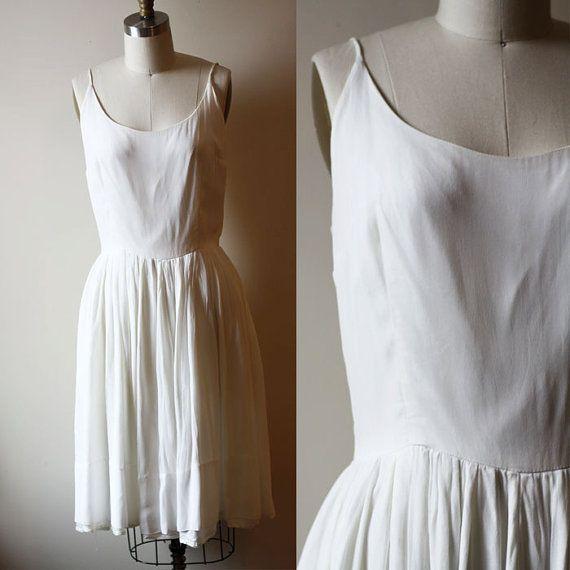 1960s white chiffon dress // bridal dress // by TheDressForm