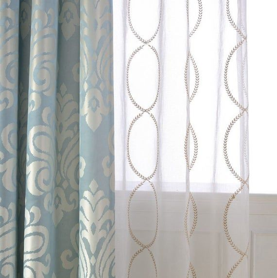 A Pair Of Gold Leaf Infinity Patterned Embroidey Sheer Curtains