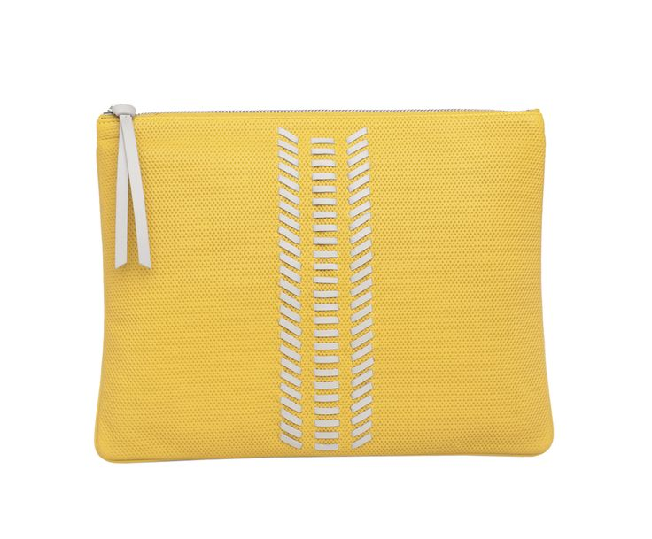 EDITOR'S POUCH WHIPSTITCH - YELLOW & GREY MICRO PERFORATED -