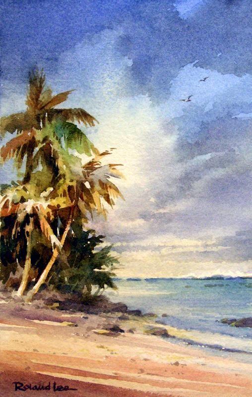 Watercolor painting of Rarotonga, Cook Islands