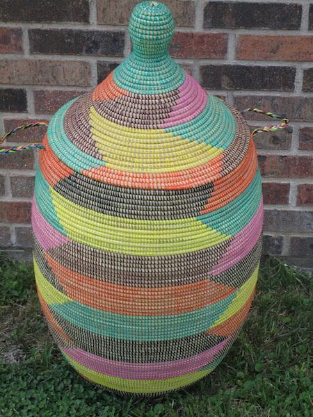 Santa Fe New Mexico Style  XXL Hamper, yellow,orange,black, laundry basket, southwestern home decor by africanbaskets on Etsy