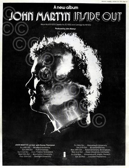 John Martyn : Inside Out ad by Brian Cooke.