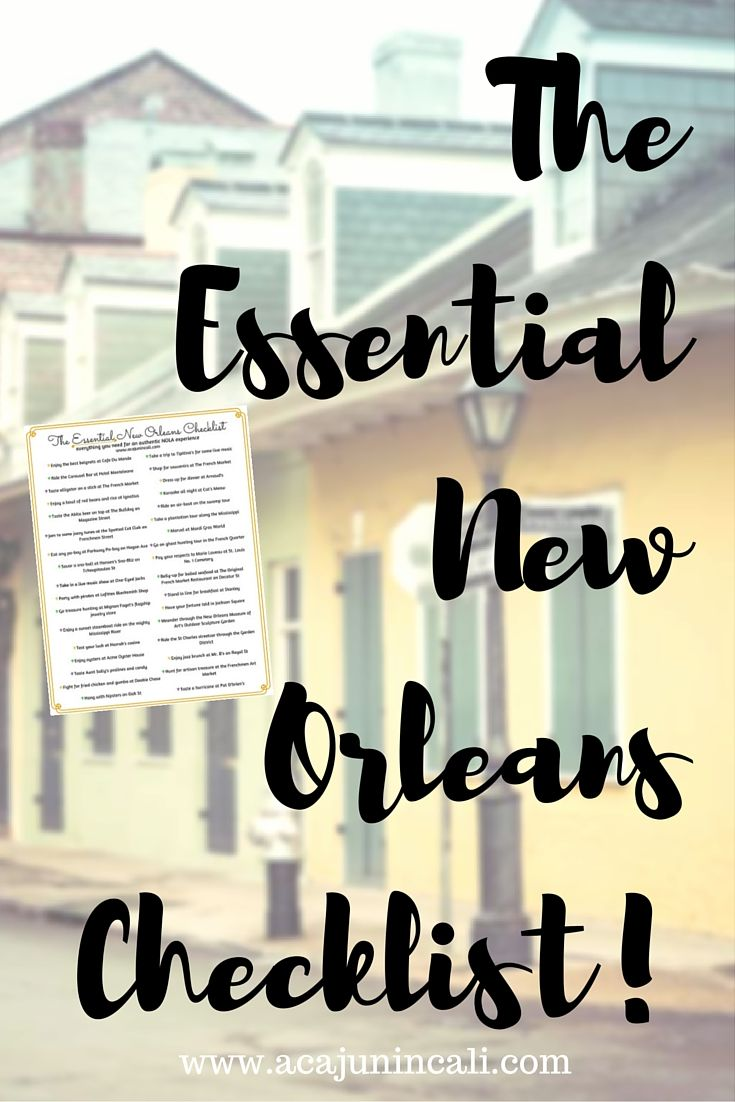 Grab your FREE copy of my latest printable: The ESSENTIAL New Orleans Checklist! With over 30 unforgettable NOLA activities, you'll be sure to have fun! | a Cajun in Cali
