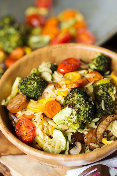 Roasted Vegetables and Andouille Orzo. #food