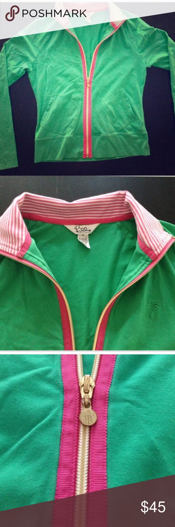 Lilly Pulitzer pink and green zip up sweatshirt Athletic wear zip up cardigan preppy Lilly pink and green! Yoga? Better than Lululemon. Lilly Pulitzer Tops Sweatshirts & Hoodies