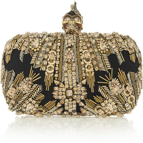 Alexander McQueen The Skull Swarovski crystal-embellished box clutch ($2,980) ❤ liked on Polyvore featuring bags, handbags, clutches, purses, alexander mcqueen, gold, clutch bags, skull box clutch, brown handbags and hand bags
