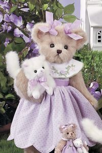 "queenbee1924:  (via Lavender Teddy Bear with Kitty | ""I'm Stuffed"")"