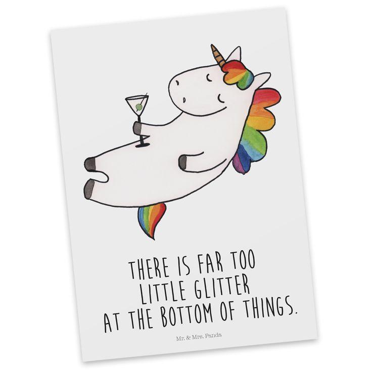 Postkarte Unicorn Cocktail mit Spruch aus Karton 300 Gramm  weiß - Das Original von Mr. & Mrs. Panda.  Diese wunderschöne Postkarte aus edlem und hochwertigem 300 Gramm Papier wurde matt glänzend bedruckt und wirkt dadurch sehr edel. Natürlich ist sie auch als Geschenkkarte oder Einladungskarte problemlos zu verwenden. Jede unserer Postkarten wird von uns per hand entworfen, gefertigt, verpackt und verschickt.    Über unser Motiv Unicorn Cocktail mit Spruch  Das Cocktail-Einhorn ist das…