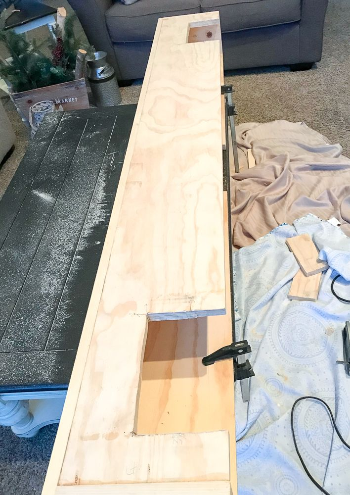 how to make a wood beam mantel
