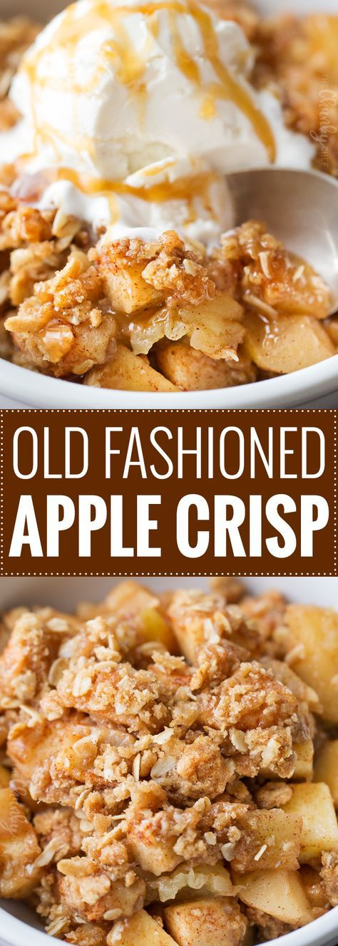 Old Fashioned Easy Apple Crisp | Chopped apples, cinnamon, brown sugar, and the best crispy oat topping, baked into the ultimate Fall dessert! Top with a scoop of ice cream and salted caramel for the perfect treat!